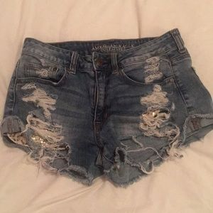 jean shorts average to good condition .